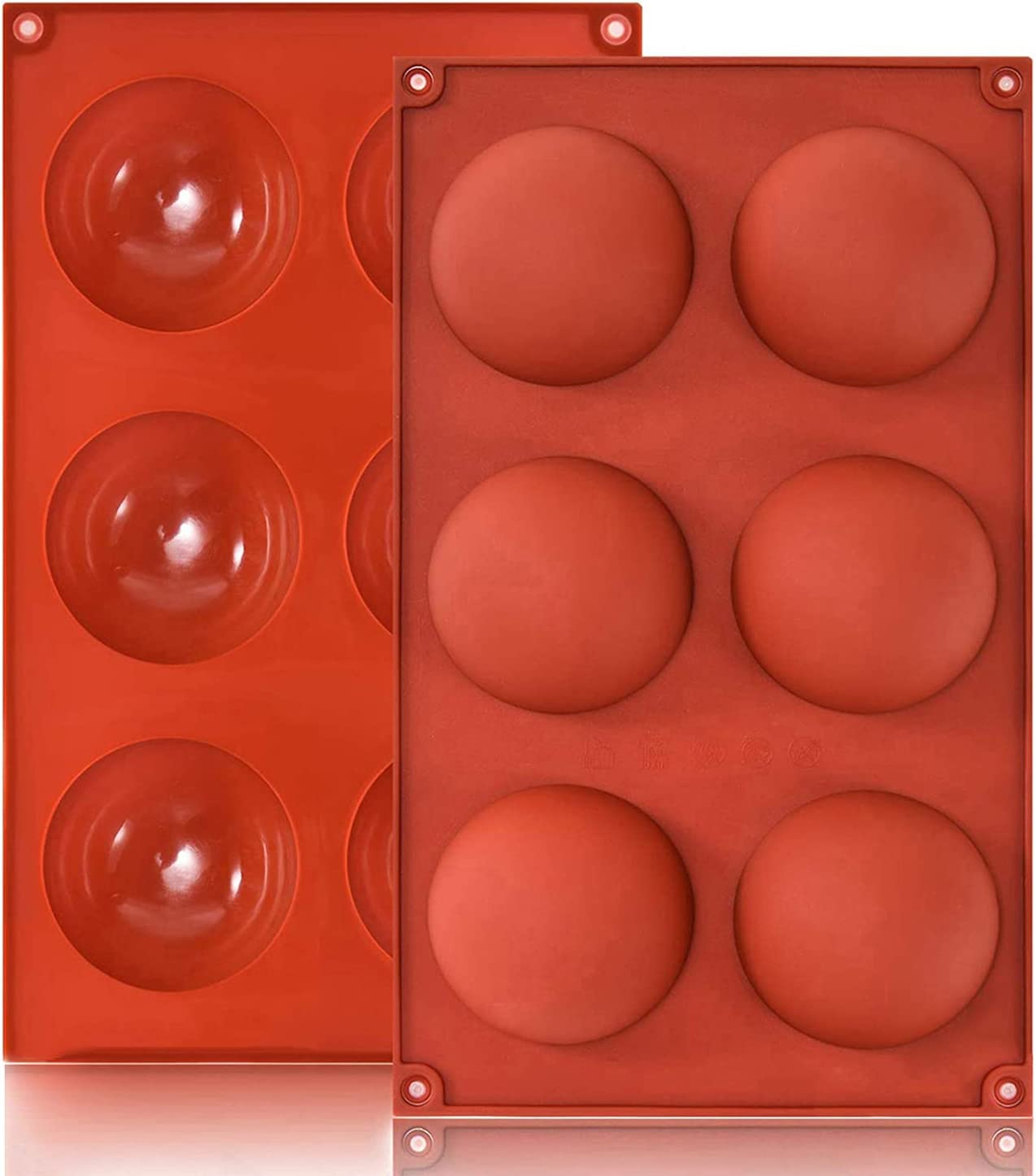 2 Pack Chocolate Hot Cocoa bomb Mold, Silicone Baking Molds Shapes Modeling Chocolate For Food Dessert Baking Cakes Jelly Dome Mousse Molds (Round)