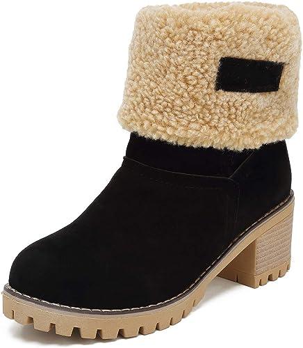 Botas Mujer Invierno Botas de Nieve C/álido Zapatos Botines Forradas Planas Snow Boots Antideslizante Calzado Comodos Cordones Negro Marr/ón Gris Rosa 36-43 EU