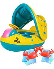WTOR 3Pcs Swimming Ring Baby Water Floats with Inflatable Canopy Sunshade and Inflatable Swimming Arm Bands Swimming Pool Toys Summer Toys Swimming Pool Boat for Kids Floatation Sleeves Floats Tube Water Wings Swimming Arm Cute Floats