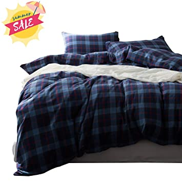 Cotton Bedding Sets King.Amwan Blue Plaid Cotton Bedding Set King Modern Soft Cotton Comforter Cover Set Grid Checkered Hotel Bedding Set Luxury 3 Piece Quilt Cover Set King