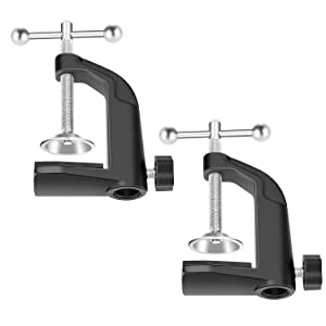 "Neewer Heavy-duty Metal Table Mounting Clamp for Microphone Suspension Boom Scissor Arm Stand Holder with Adjustable Positioning Screw, Fits up to 1.77""/4.5cm Desktop Thickness--Black (2 Pack)"