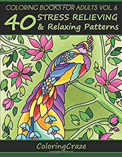 Coloring Books For Adults Volume 6 40 Stress Relieving And Relaxing Patterns Adult