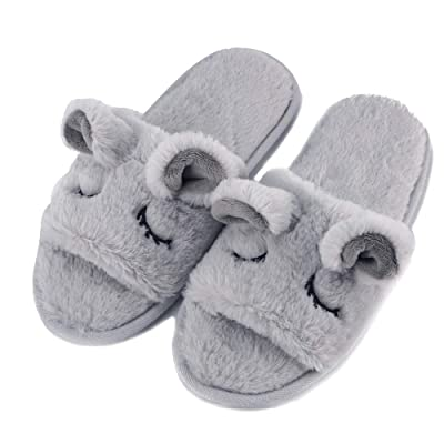 FamiPort Women's Cute Fur Bunny Slippers Soft Fuzzy Breathable Open Toe Memory Foam Grey Plush Indoor Bedroom Home Slippers Flat Anti Slip House Shoes Outdoor Spa | Slippers