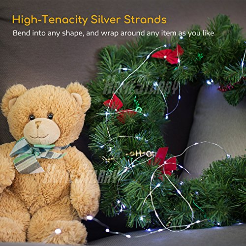 4 Pack Fairy Lights Fairy String Lights Battery Operated Waterproof 8 Modes Remote Control 50 Led String Lights 16.4ft Silver Wire Firefly lights for Bedroom Wedding Festival Decor (Cool White) by Homestarry (Image #4)