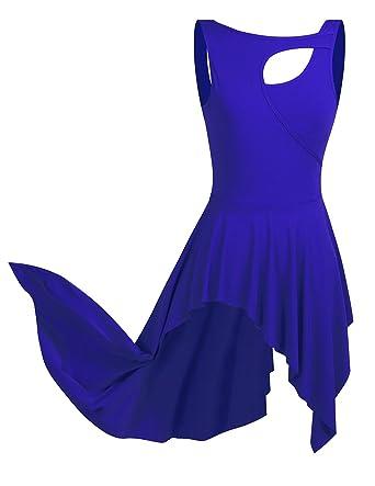 d0d87fa08946f CHICTRY Robe Danse Latine Femme Asymétrique de sans Manche Robe Danseuse  Rumba Zumba Salsa Robe de Ballet Costume XS-XL  Amazon.fr  Vêtements et  accessoires