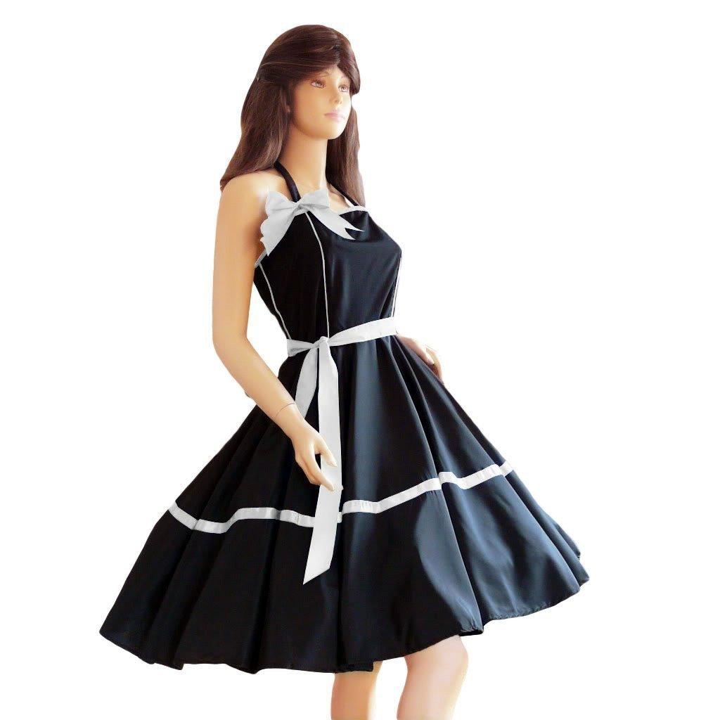 K05 Kleid Kleider für Petticoat Petticoats Pettycoat 50er 60er schwarz weiß Gr. S und M
