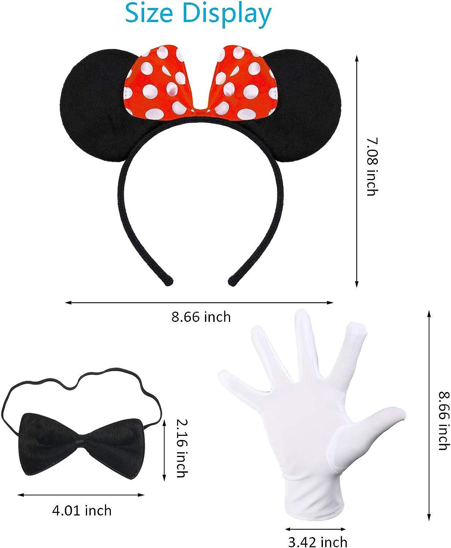 SEELOK 3 Pcs Deguisement Minnie Adulte Femme N/œud papillon Cadeau D/écoration pour Eanfant Danse Carnaval F/ête Disney Cosplay Noir Serre-t/ête avec Oreilles de Souris+Gants Blancs Bandeau Minnie