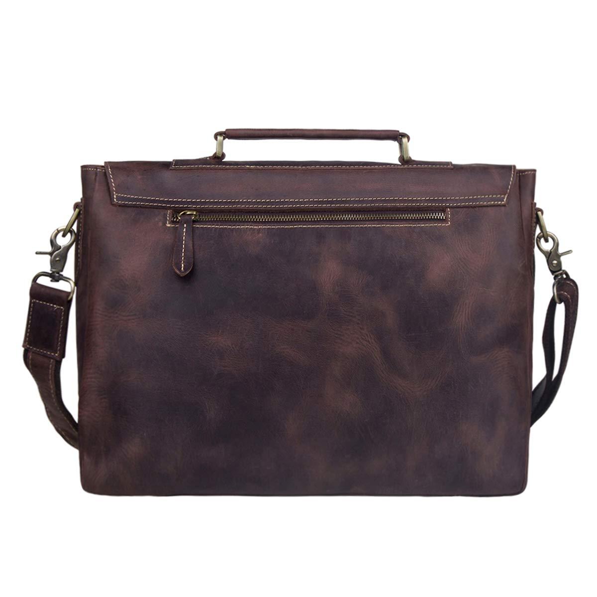 S-ZONE Men's Crazy Horse Leather Satchel Briefcase Shoulder Bag Messenger Bag 14'' Laptop Tote Bag by S-ZONE (Image #3)