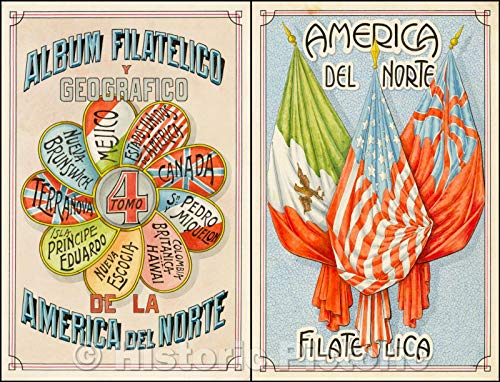 Historic Map | Album Filatelico y Geografico de la America del Norte/Album Philatelic Geographic y de la America del Norte, 1939, Antonio F. Raggio | Vintage Wall Art 24in x 18in