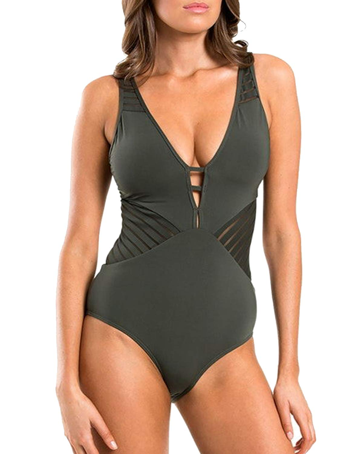 Womens One Piece Swimsuit Mesh Deep V Neck Cut Out Bathing Suit Army Green