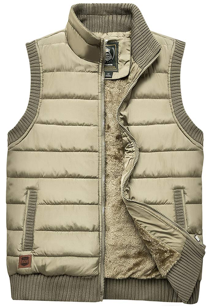 Vcansion Men's Outdoor Casual Stand Collar Thicken Qulited Fleece Jacket Vest Padded Vest Lightweight Down Cotton Vest Coat Khaki US L by Vcansion