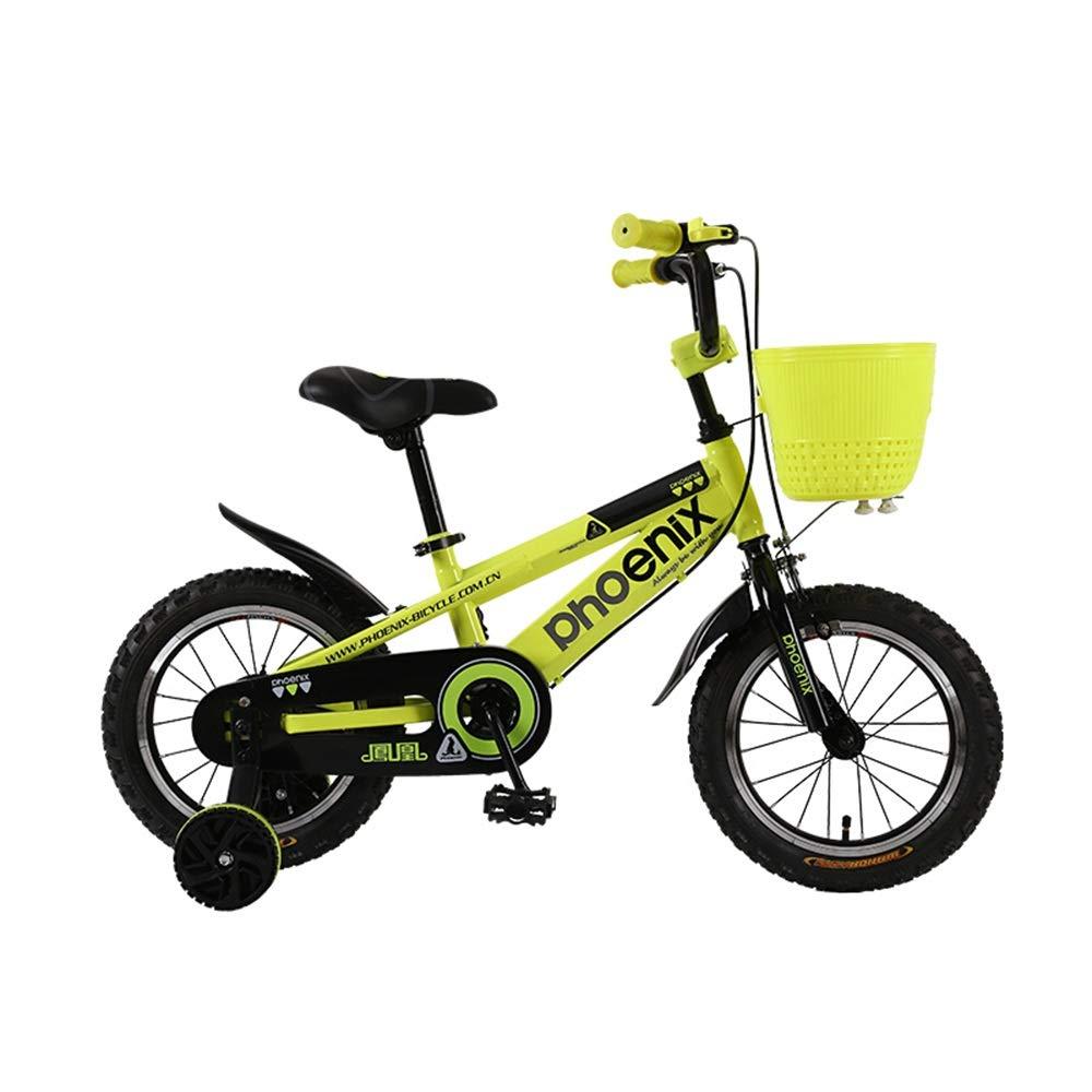 amarillo Axdwfd Infantiles Bicicletas Bicicleta para niños con ruedas de entrenamiento para niños y niñas, 12 14   16 18 pulgadas Bicicleta para niños ajustable para niños de 2-9 años Ciclismo, azul, verde, na 12in