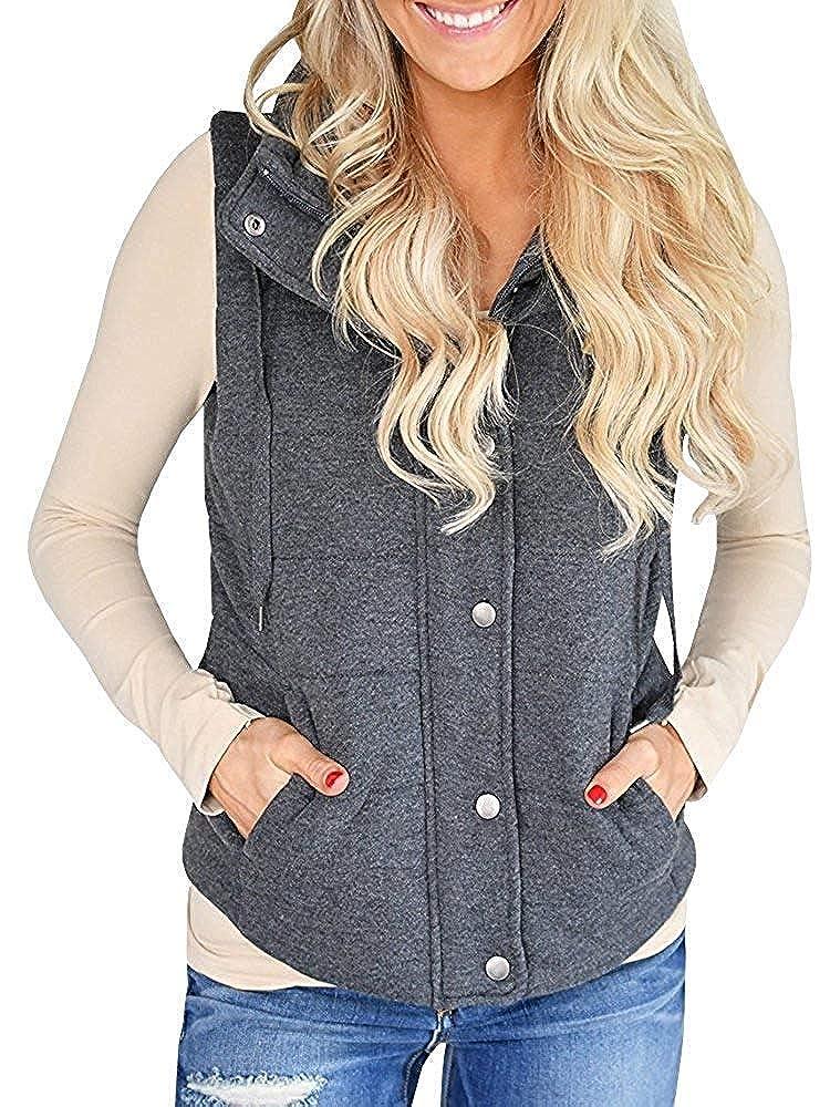 Dark Grey Hestenve Womens Quilted Vest Gilet Padding Sleeveless Zip Lightweight Jackett Outwear