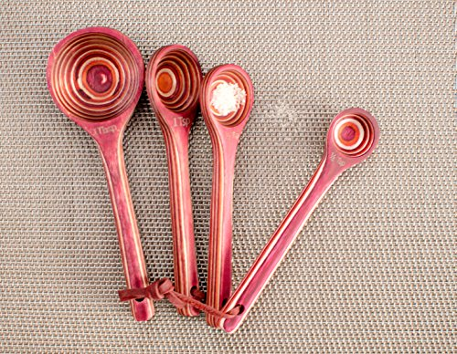 Exotic Pakka Wood Measuring Spoon Set for Dry and Liquid Ingredients - Pack of 4, Sizes Include 1 Tbsp, 1 Tsp, 1/2 Tsp, 1/4 Tsp - With Removable Loop and Wide No-Spill Bowl - By Crate Collective (Red) by Crate Collective (Image #3)