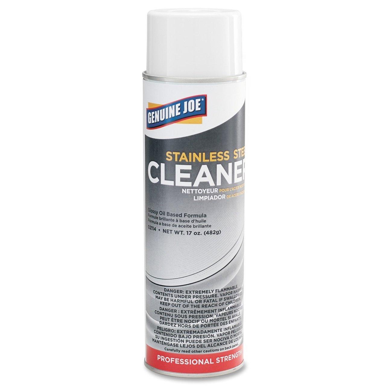 Genuine Joe GJO02114CT Stainless Steel Cleaner, 0.12 gal Can, Aerosol (Pack of 12)