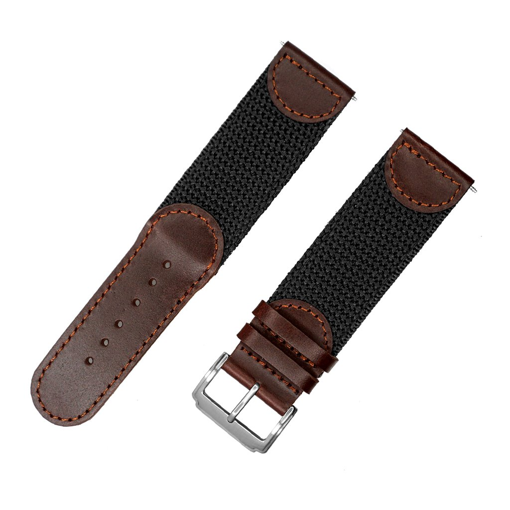 NATO Extra Long Band, YQI Men's Calfskin Leather Nylon Watch Strap Swiss-Army Style Watch Band (85x125mm) (24mm, Brown and Black)