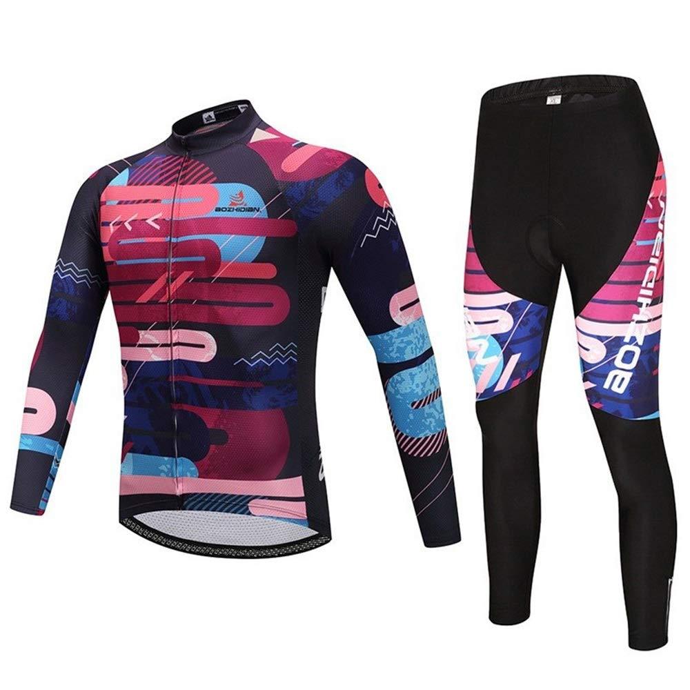 Trikots Bike Jersey Frühling und Herbst Sport Fitness Atmungsaktives Langarmtrikot Set Wandern Laufbekleidung JFYCUICAN (Color : 1, Size : L)