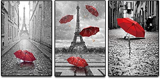 KKZZZ 3 Paneles Lienzos Giclee Paris Blanco y Negro con Torre ...