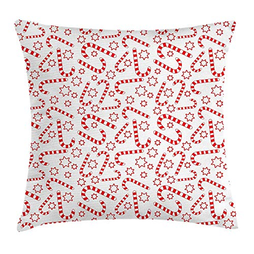 Queolszi Candy Cane Throw Pillow Cushion Cover, Illustration of Xmas Themed Figures Traditional Candies and Stars Seasonal, Decorative Square Accent Pillow Case, 24 X 24 Inches, Vermilion White