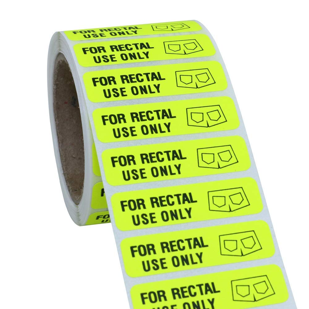 Hybsk for Rectal Use Only Stickers 1.5 x .375 Fluorescent Yellow Stickers with Permanent Adhesive 500 Labels Per Roll