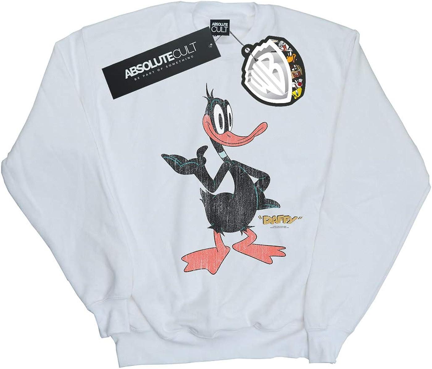 Looney Tunes Girls Daffy Duck Distressed Sweatshirt