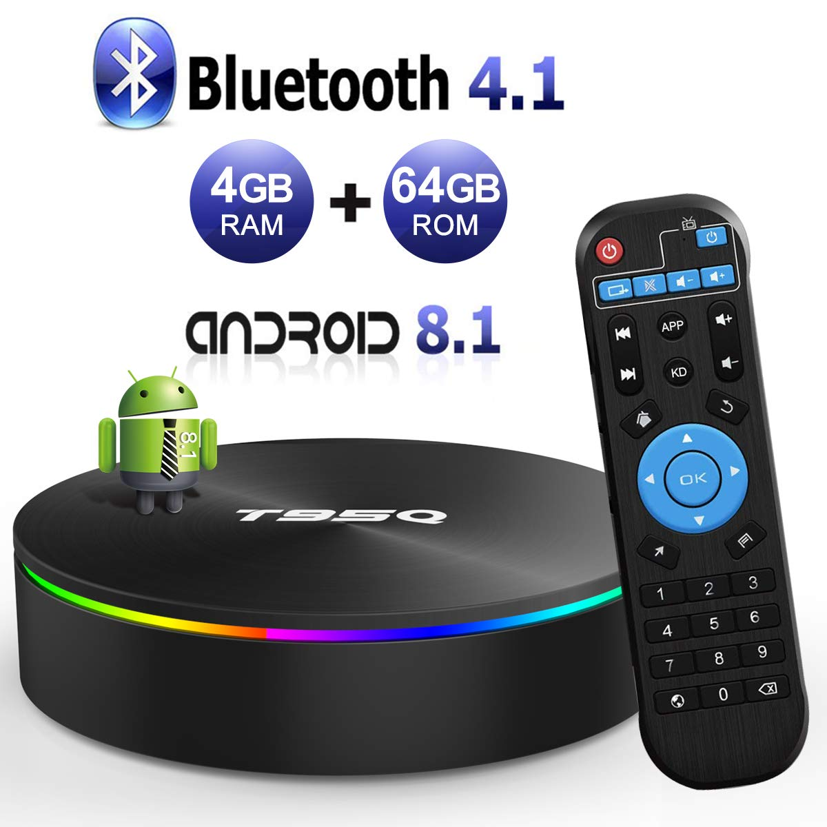 YAGALA T95Q Android 8.1 TV Box 4GB RAM 64GB ROM Amlogic S905X2 Quad-core Cortex-A53 Bluetooth 4.1 HDMI 2.1 H.265 4K Resolution 2.4GHz&5GHz Dual Band WiFi 1000M Ethernet Video Player by YAGALA