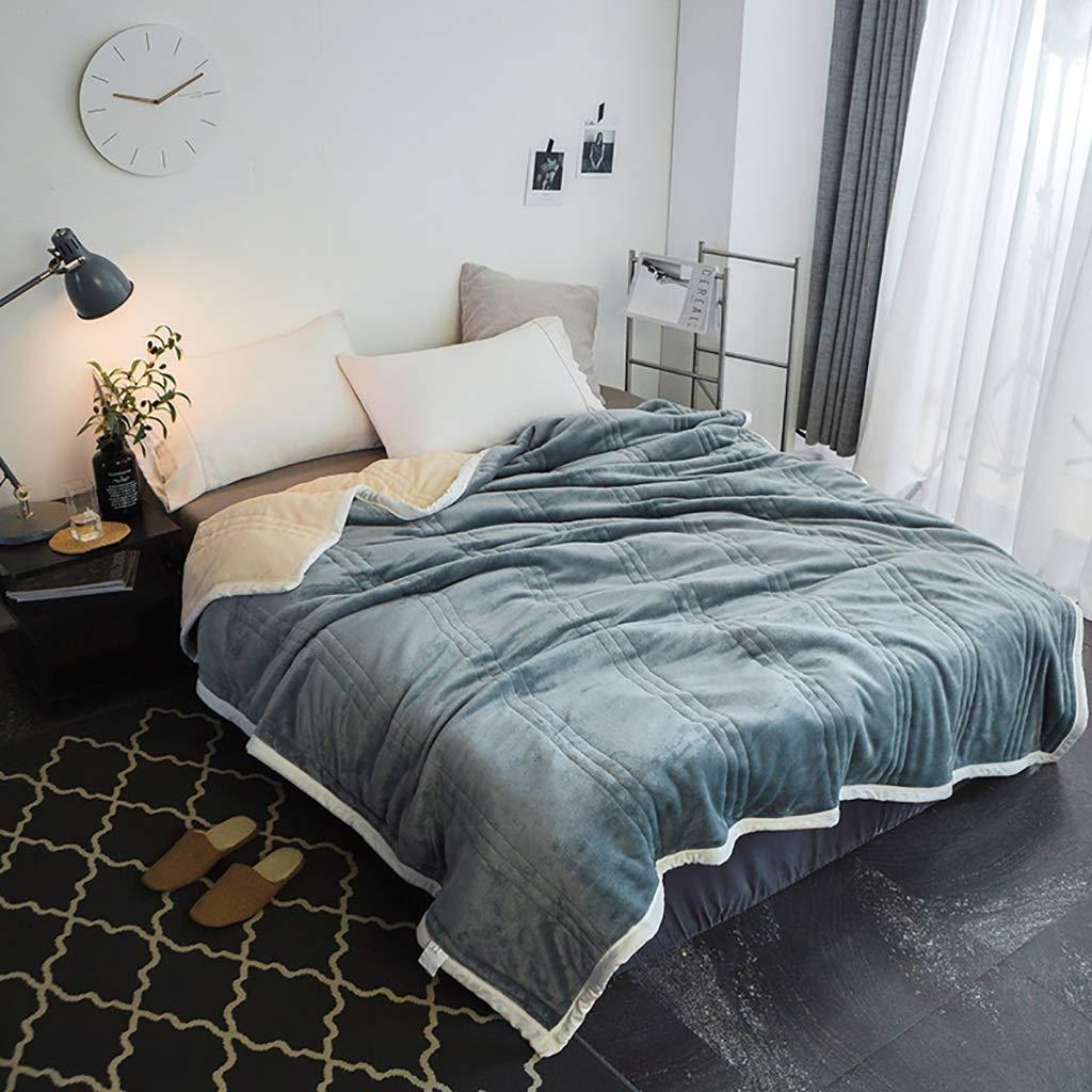 WJ 毛布ダブルベッド、Thicken 3フロアSuper soft blanket、秋と冬のソファブランケットは大きなベッドソファを6つの色を投げる (色 : Gray, サイズ さいず : 180 * 200cm) B07HJ521JL Gray 180*200cm