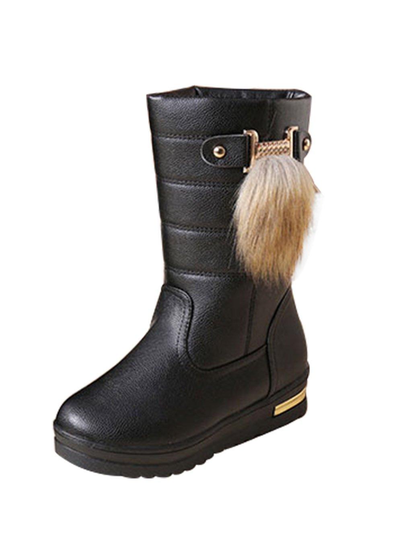 T&Mates Womens Elegant Comfort Warm Fur Lining Round Toe Slip-on Anti-Slip Platform Snow Boots (6 B(M) US,Black)