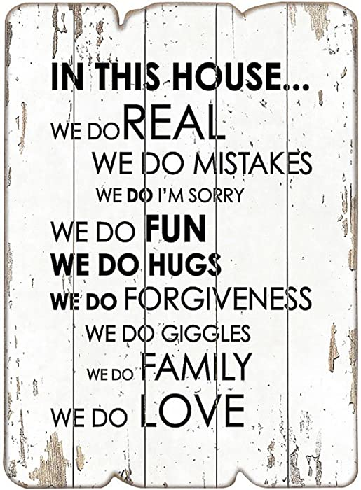 "MODE HOME 11.81""X15.75"" Vintage Inspirational Wall Signs Shabby Chic Wooden Signs(IN THIS HOUSE)"