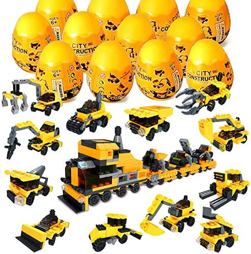 12Pcs Pre Filled Easter Eggs with Construction Vehicles Building Blocks, Egg Surprise Toys for Easter Basket Stuffers, Easter Party Favors, Easter Basket Filler, Easter Egg Hunt Classroom Prize Toys