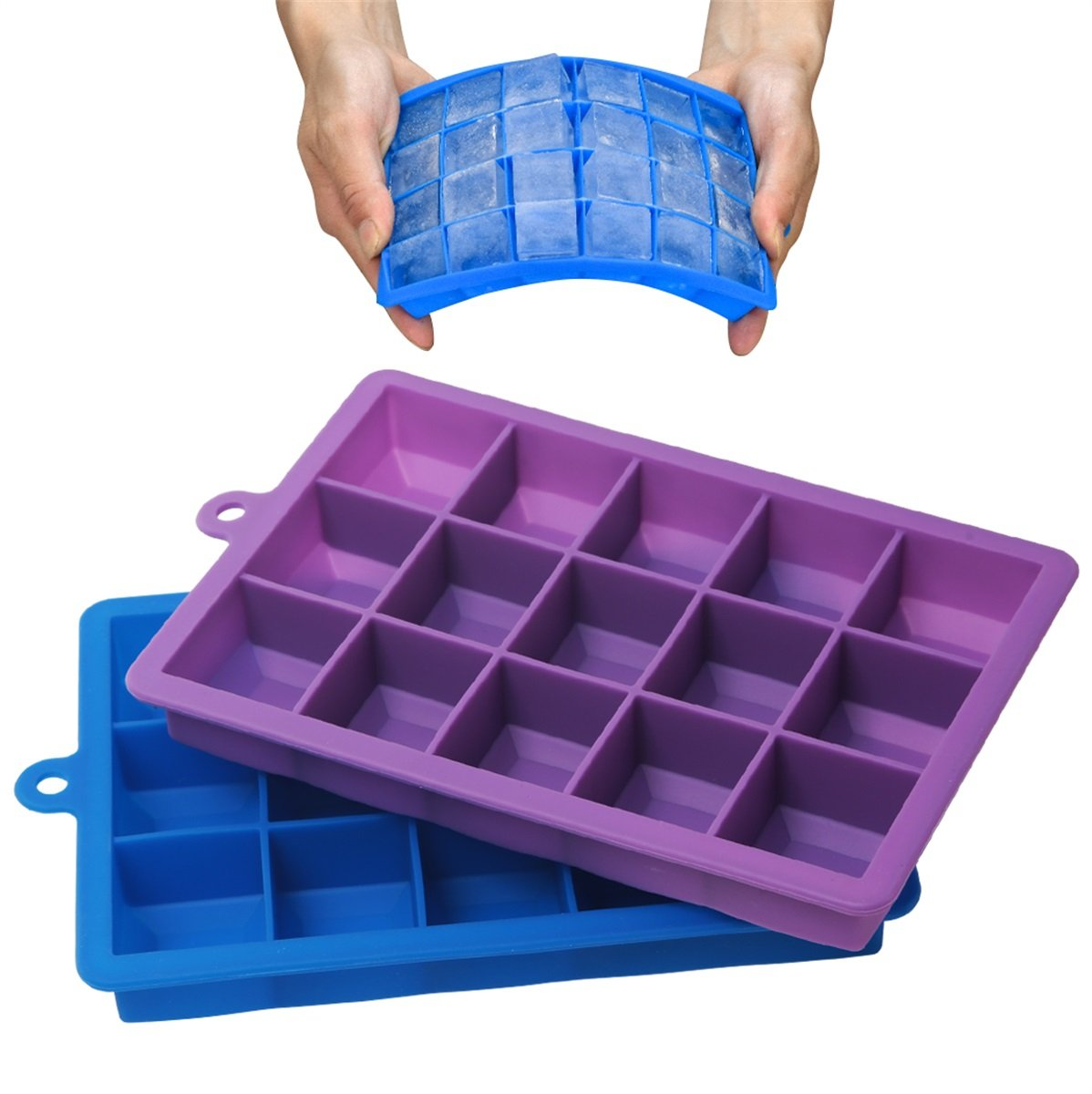 Stephenie Ice Cube Trays with Lid - 2 Pack - 15 Cavities 1-2/5 inch Medium Square Ice Cube Molds ( 30 Cubes Total ) - BPA free - Easy To Release
