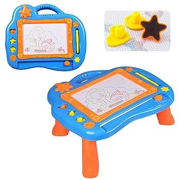 XTL 2 en 1 Ardoise Magique Tableau Sketchpad, De Dessin Magnétique Coloré  Planche de Barbouillage Jouet Cadeau éducatif pour Enfants - Bleu