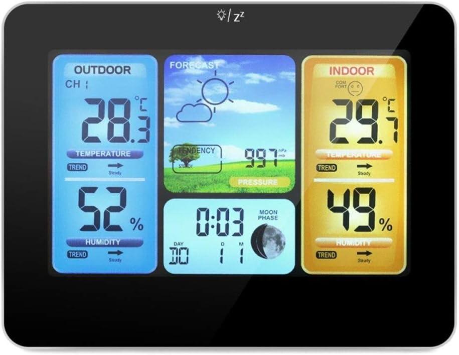 Zxllyntop Estaciones Meteorológicas Reloj Alarma Digital inalámbrica Estación meteorológica Jardín barómetro, higrómetro de múltiples Funciones del barómetro del termómetro, Negro: Amazon.es: Hogar