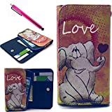Note 4 Case, Jcmax Foldable Wallet Case, Elephant Pattern Flip Synthetic Leather Wallet Purse Case Protector Cover Skin Shell With [Card Slots][Cash Pouch] For Samsung Galaxy Note 4