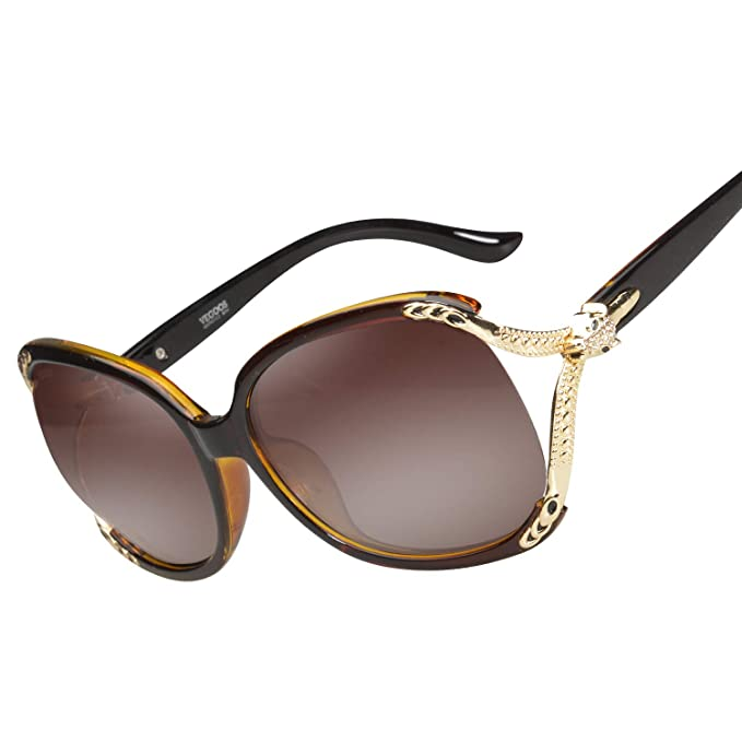 VEGOOS Gafas de Sol Polarizadas de Mujer Clásico Estilo Marco de Grande UV400 Protección (Marrón