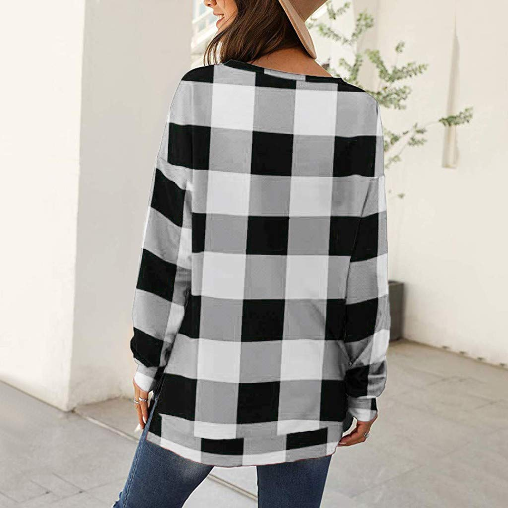 DBHAWK Womens O-Neck Plaid Loose Pullover Long Sleeve Tunic Tops Side Split Plain Shirts Top Casual T Shirt