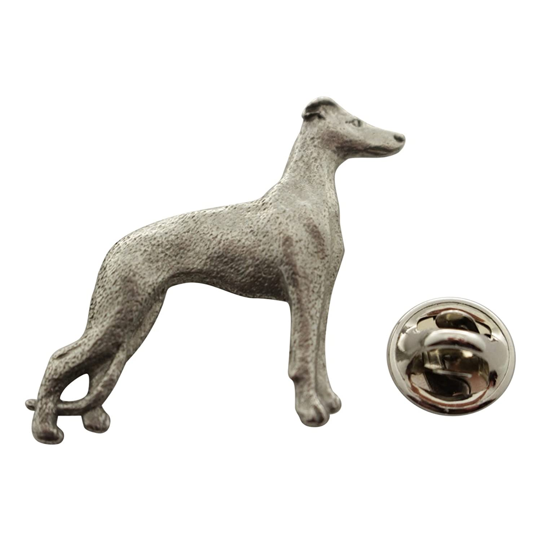 Whippet Pin ~ Antiqued Pewter ~ Lapel Pin ~ Sarah's Treats & Treasures