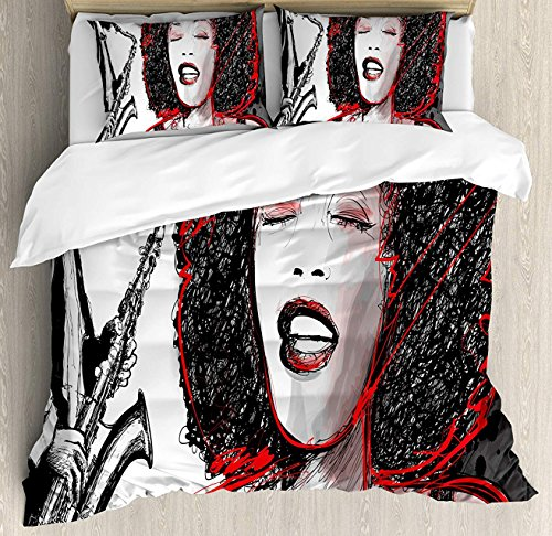 African Duvet Cover Set Queen Size, African American Girl Singing with Saxophone Player Popular Sound Jazz Theme Design,3 Piece Bedding Set with 2 Pillow Shams, Black Pale Grey ()