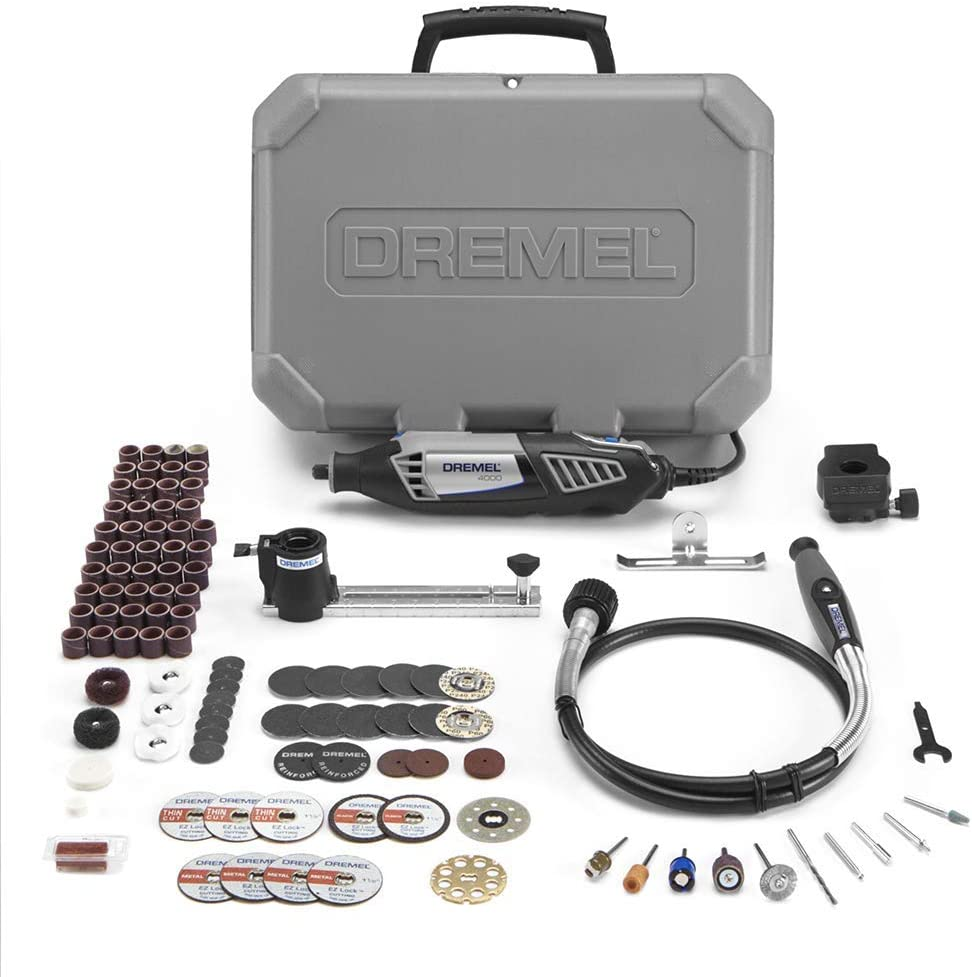 Dremel Gift Kit- Rotary Tool with 3 Attachments and 100 Accessories- Micro Sander, Wood Carver, Router, Grinder, Polisher, Etcher, and Engraver- 4000-2/30 + Flex Shaft Attachment + EZ725 Accessory Kit