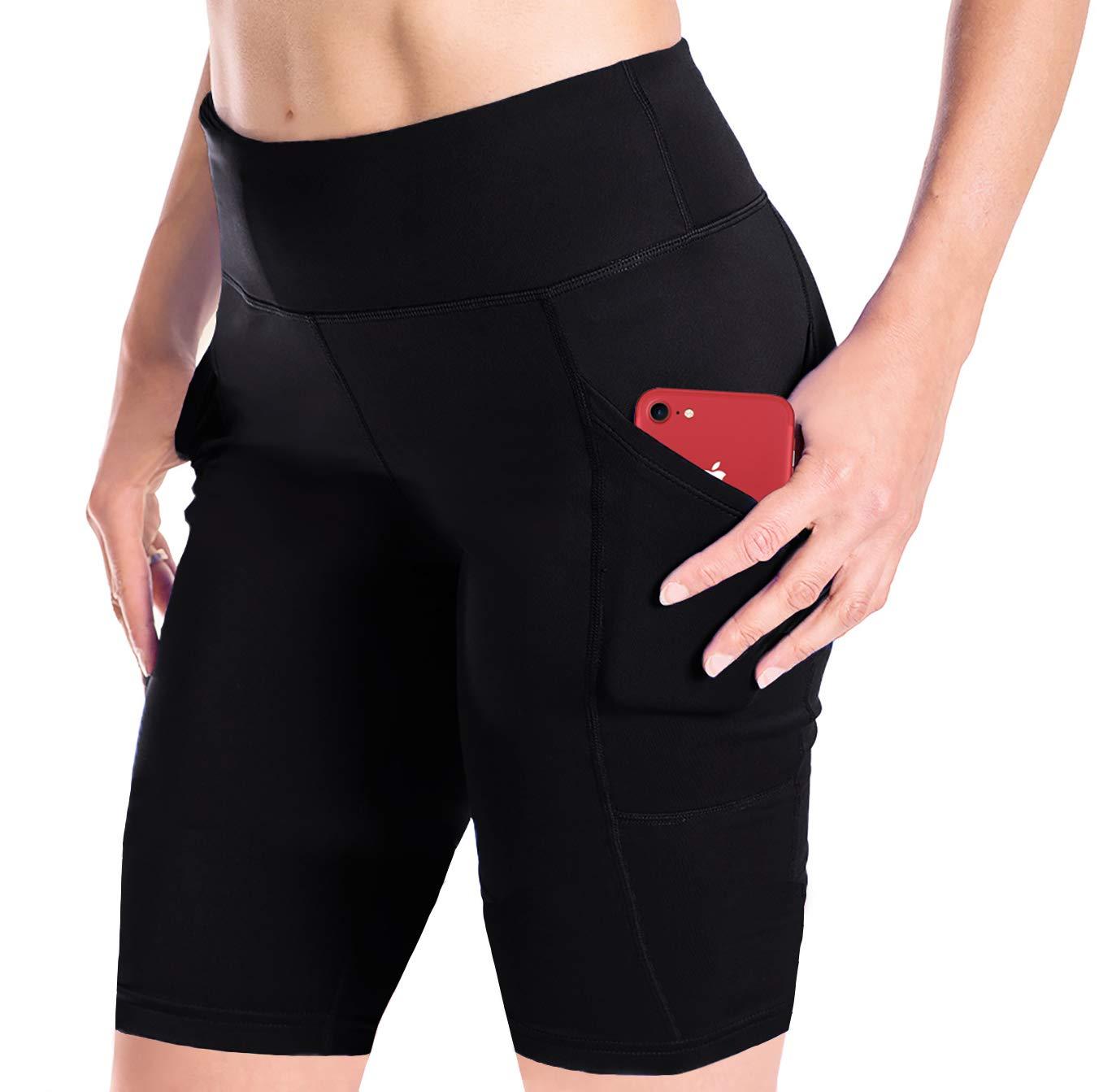 Yogipace Women's 10'' Inseam Compression Workout Shorts Bike Short Side Pockets Black Size S