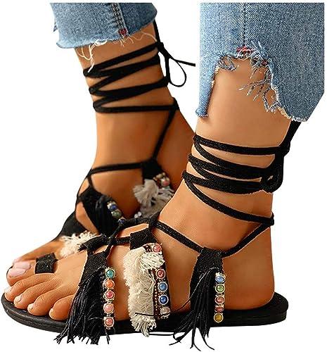Xchenda Women's Flat Sandals Lace-Up