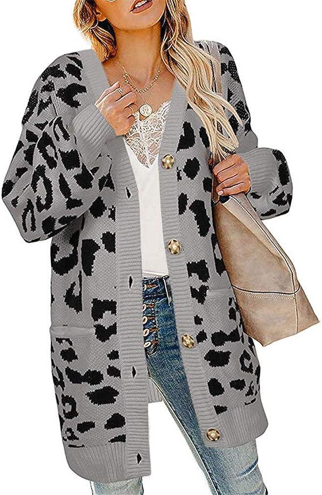 QIYUN.Z Cappotto Cardigan Lavorato a Maglia Leopardato Autunno Inverno Donna Cardigan Vintage Moda Manica Lunga