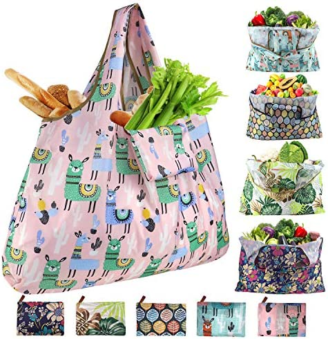 Reusable Shopping Bags Foldable 55LBs XX-Large Shopping Bags Heavy Duty Washable Shopping Bags for Groceries Eco-Friendly Ripstop with Wide Handle Fits in Purse, Alpaca Blossom Leaf Pattern