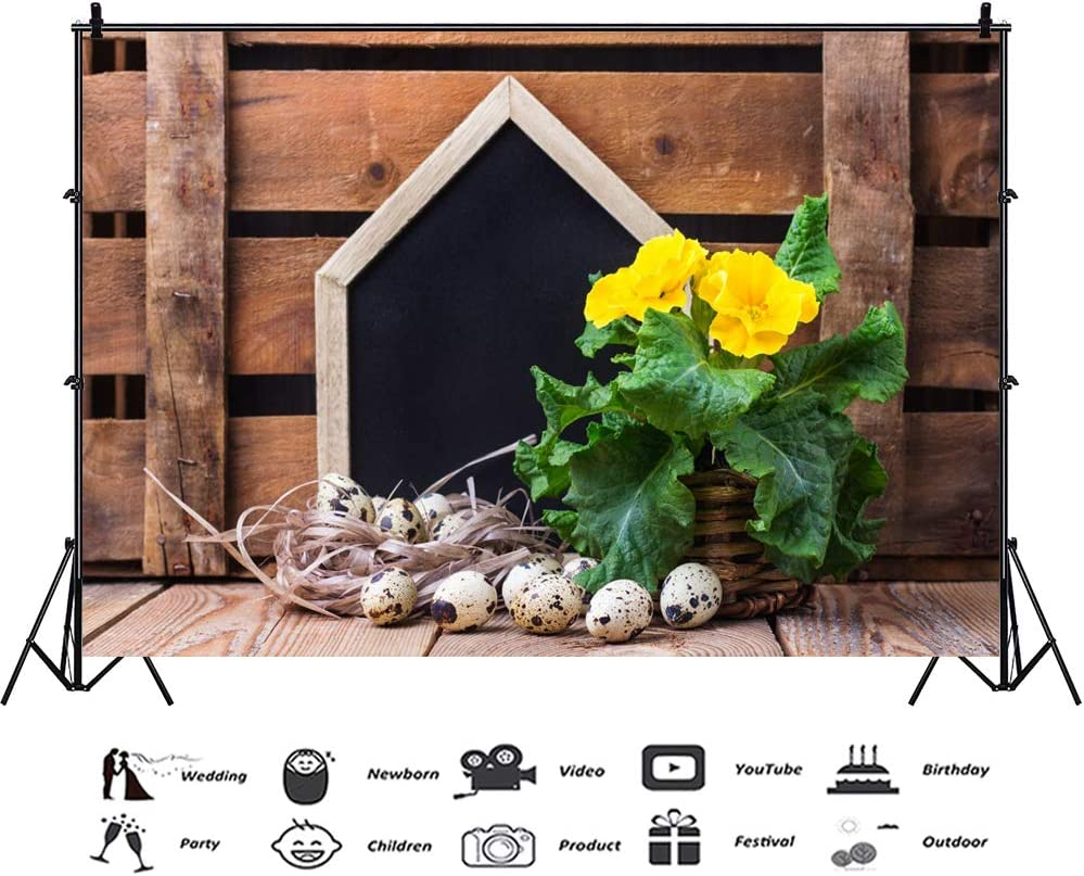 Haoyiyi 10x8ft Easter Backdrop Rustic Vintage Retro Brown Wooden Wood Plank Board Wall Flower Background Photography Photo Kids Adult Lover Birthday Party Photo Portrait Wallpaper Event