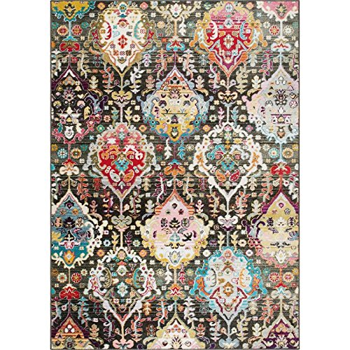 Home Dynamix Melody Rosita Area Rug   Contemporary Modern Style   Damask Pattern   Fade Stain Resistant, Charcoal, 8' x 10'