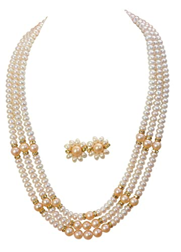 8c48fab1f73cd Classique Designer Silver Alloy with Gold Plated Button Pearl Necklace Set  for Women(cp013)