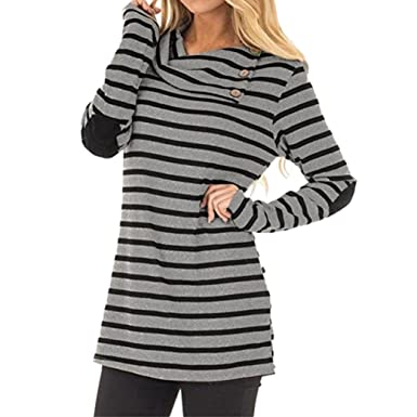 Jimmkey Womens Casual Striped Turn-Down Collar Long Sleeve Sweatshirt Tops Blouse Stripe Long Sleeve