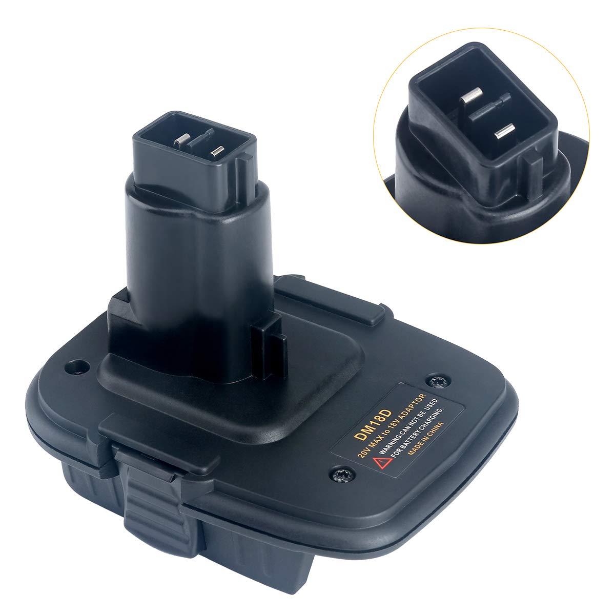 Lasica 20V Battery Adapter DCA1820 with USB port for Dewalt 18V Tools, Convert Milwaukee 18V Lithium Battery M18 DeWalt MAX 20Volt Lithium-Ion Battery DCB204 to DeWalt 18V NiCad NiMh Battery DC9096 by Lasica (Image #2)
