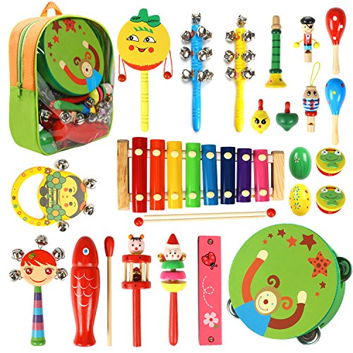 CRZKO Toddler Musical Instruments, 22Pcs Baby Instruments Wooden Educational Preschool Toys, Mini Band Wooden Percussion Set for Boys and Girls Birthday Gifts with Backpack, Random Color Pattern
