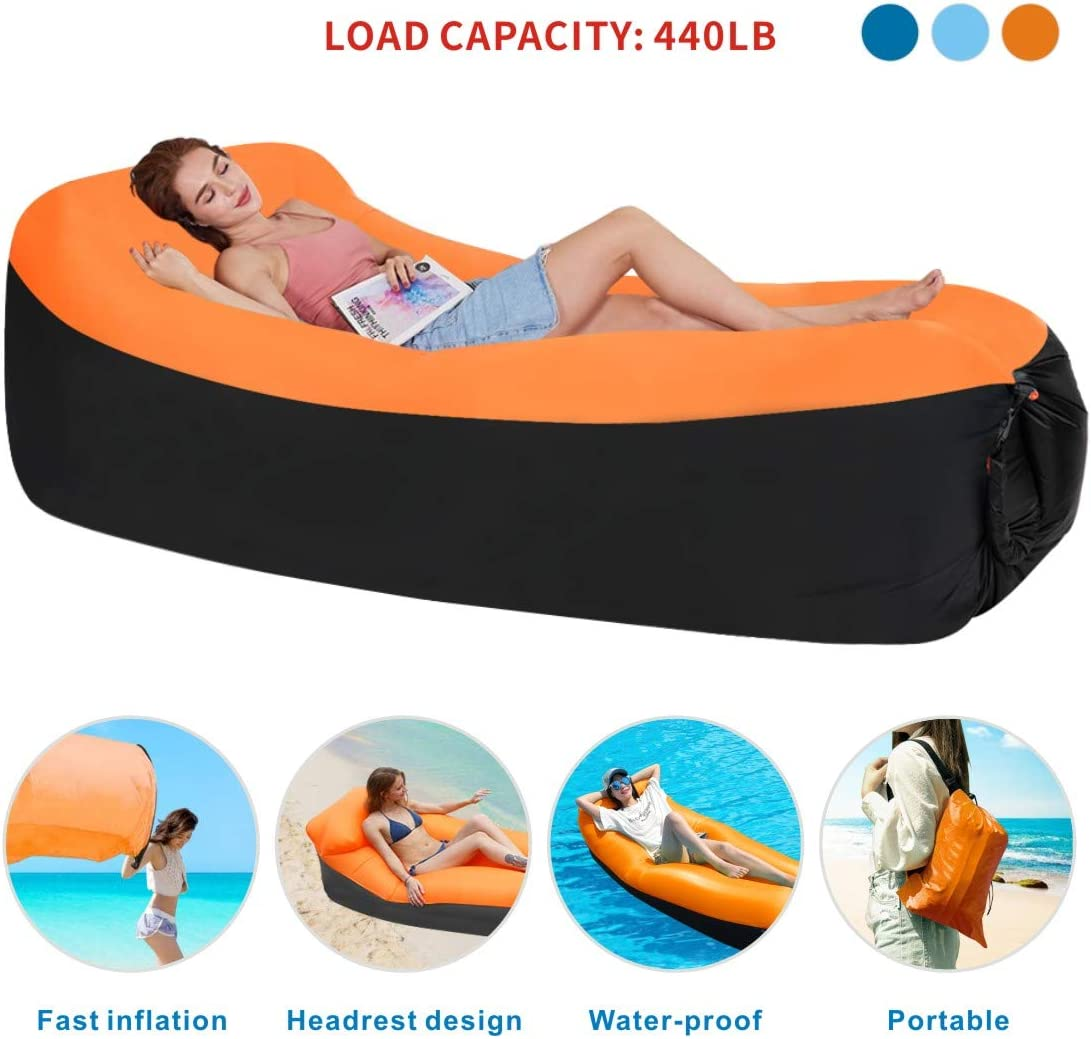 Idefair Inflatable Lounger Air Sofa Hammock, Air Lounger Anti-Air Leaking Waterproof Portable for Beach, Park, Backyard, Travelling, Camping, Hiking, Picnic
